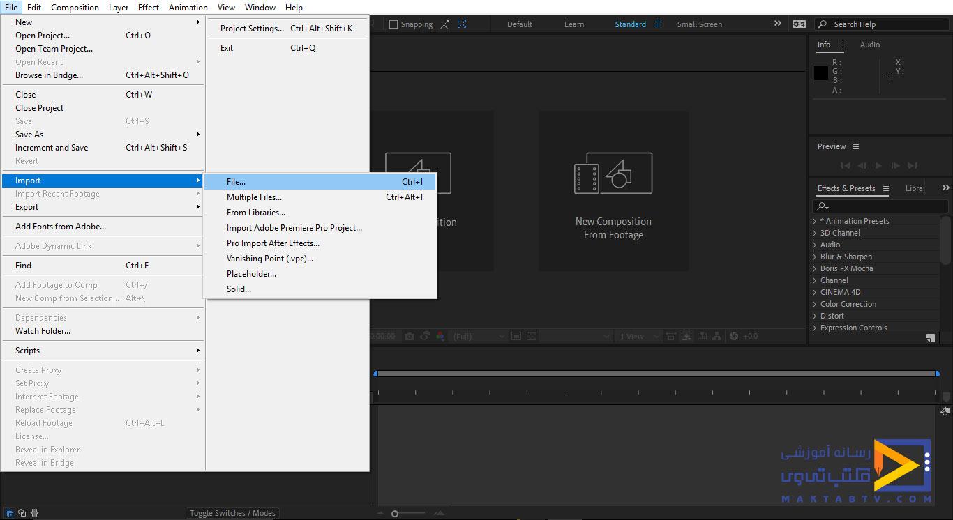 وارد کردن فایل ها به داخل نرم افزار افترافکت از طریق سربرگ File از قسمت Import و گزینه File