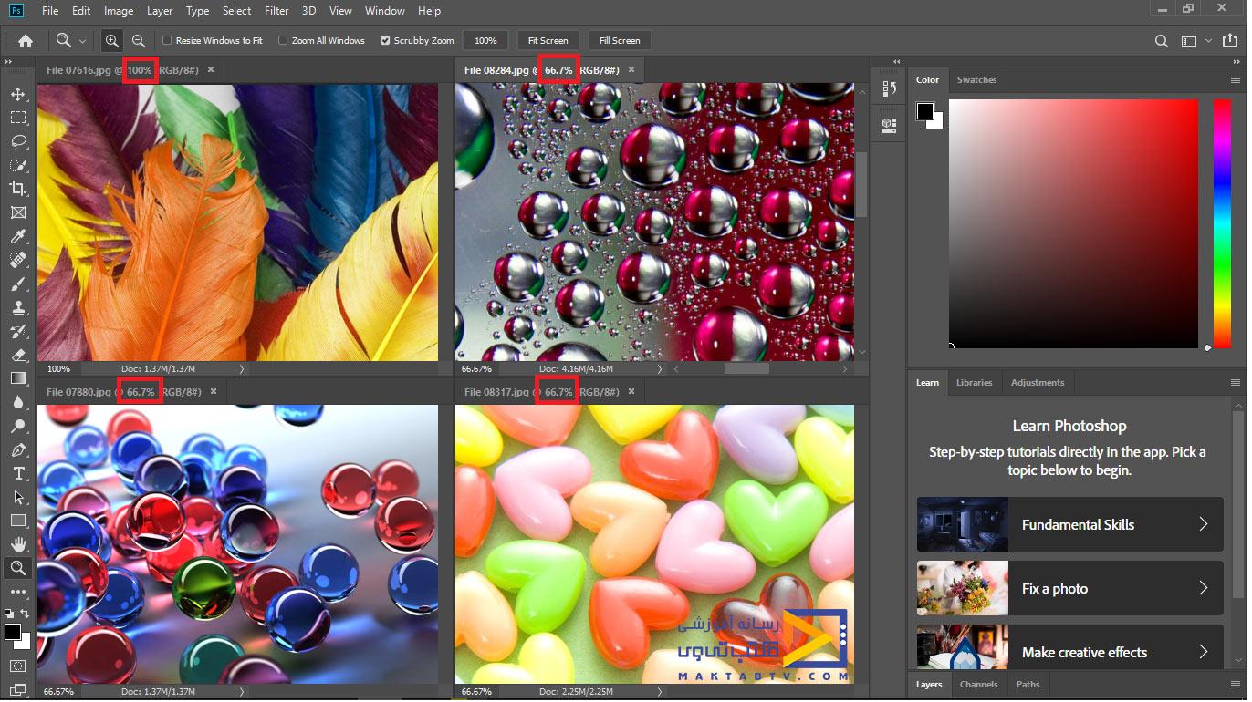 تطبیق زوم یا بزرگنمایی سایر تصاویر با تصویر فعلی با استفاده از گزینه Match Zoom