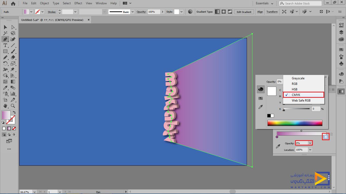 پنل gradient و تنظیم مد رنگی بر روی cmyk