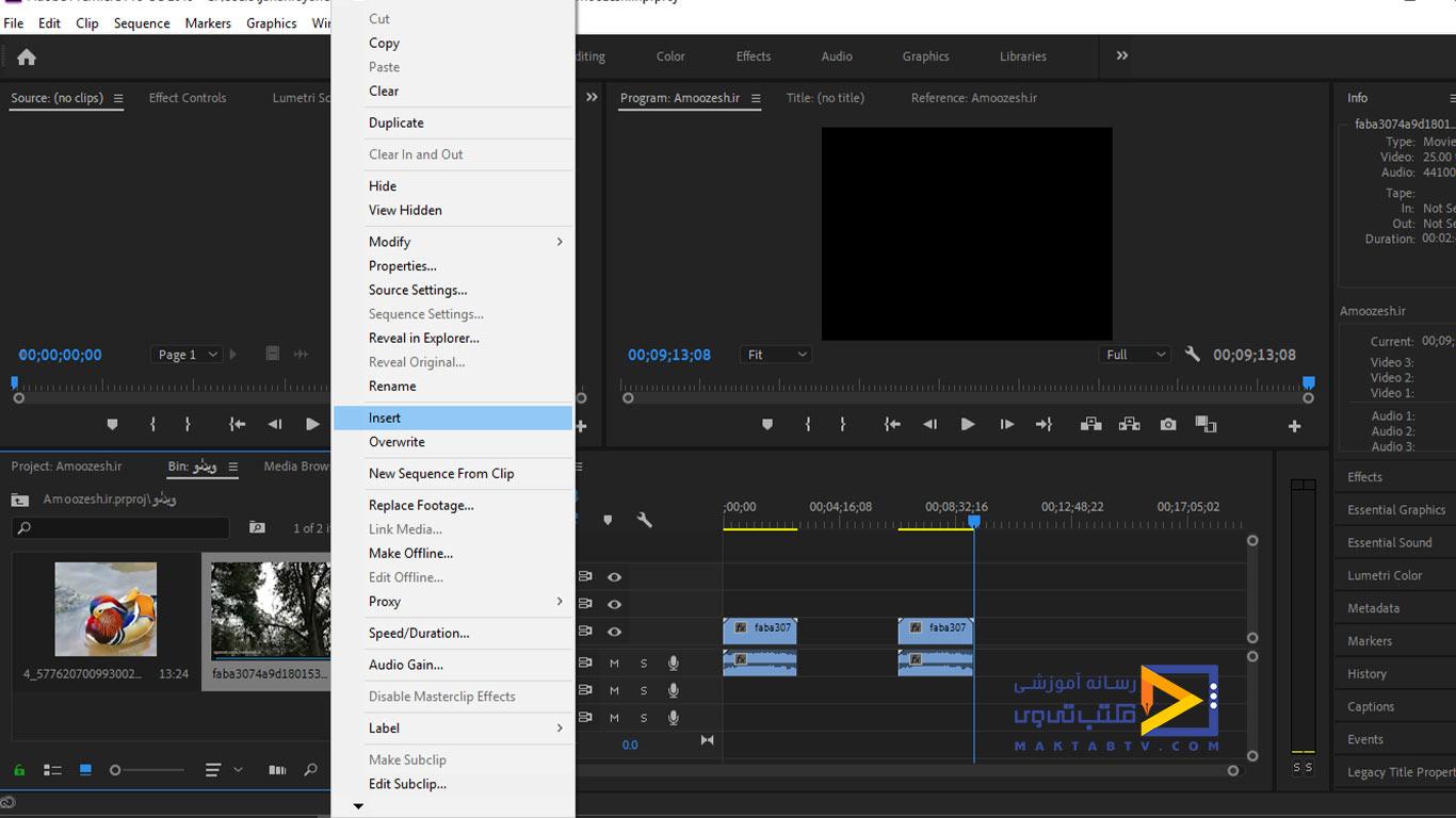 وارد کردن فایل ها به درون تایم لاین برنامه پریمیر با انتخاب گزینه ی Insert