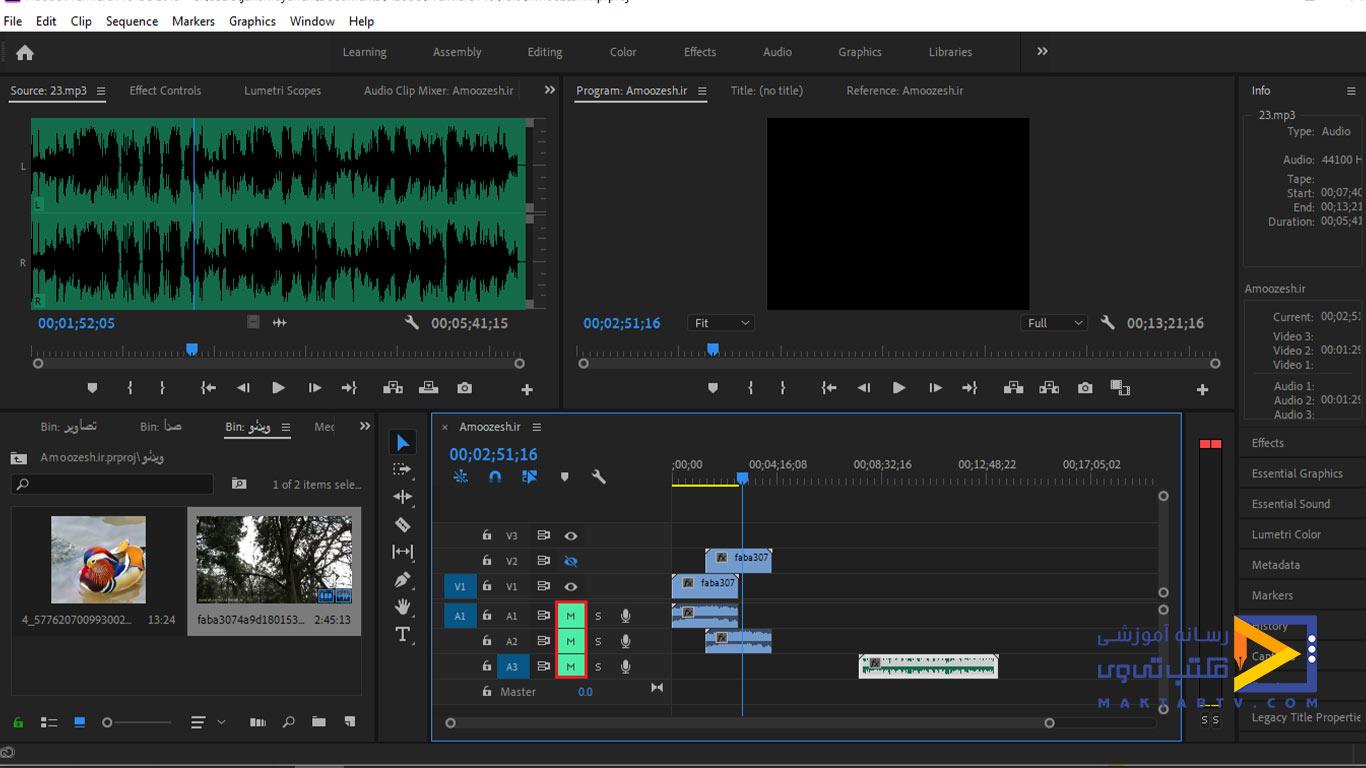 بی صدا کردن صوت ها در بخش تایم لاین برنامه پریمیر