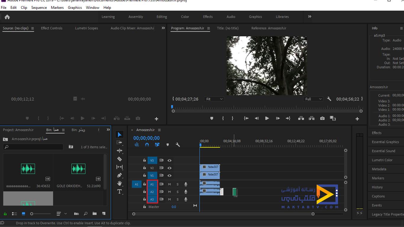 قرار دادن فایل صوتی و ویدئویی در تایم لایم پریمیر