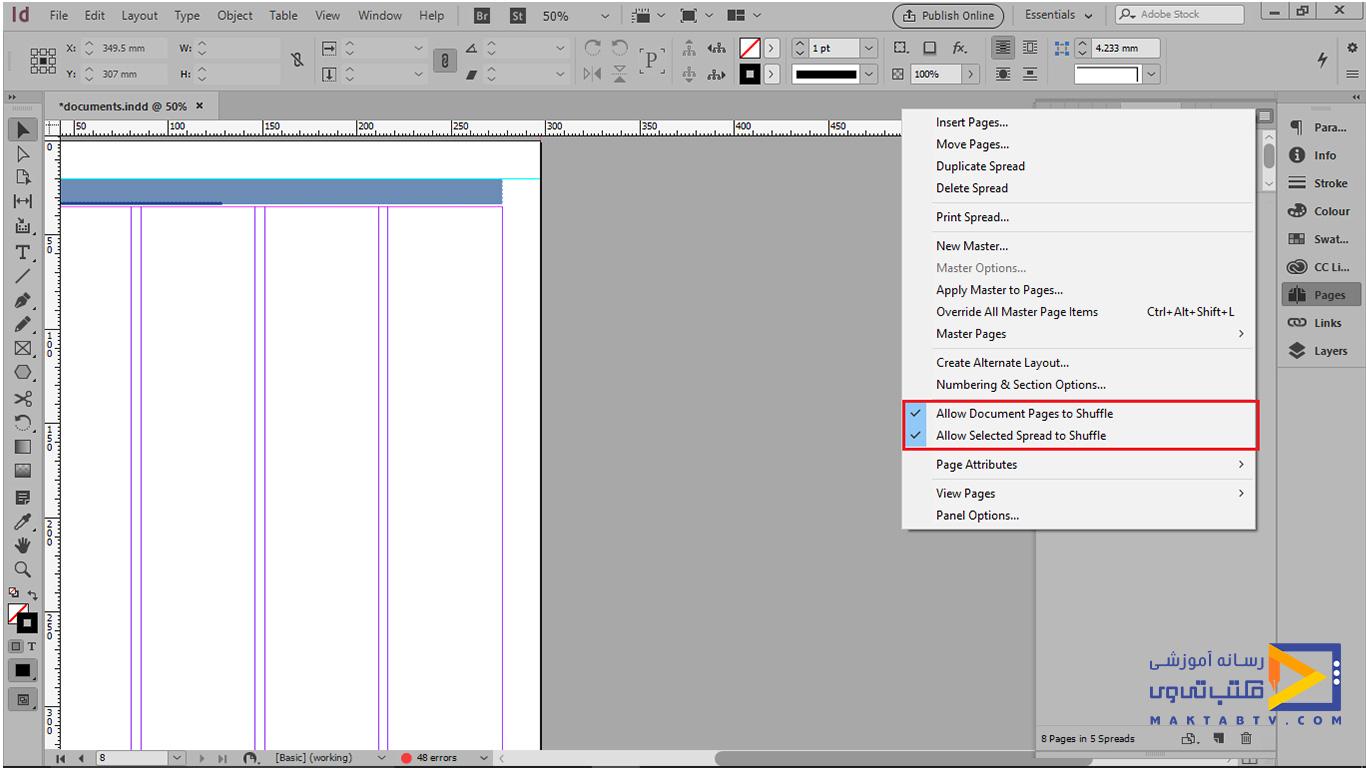 گزینه Allow Document Pages to Shuffle