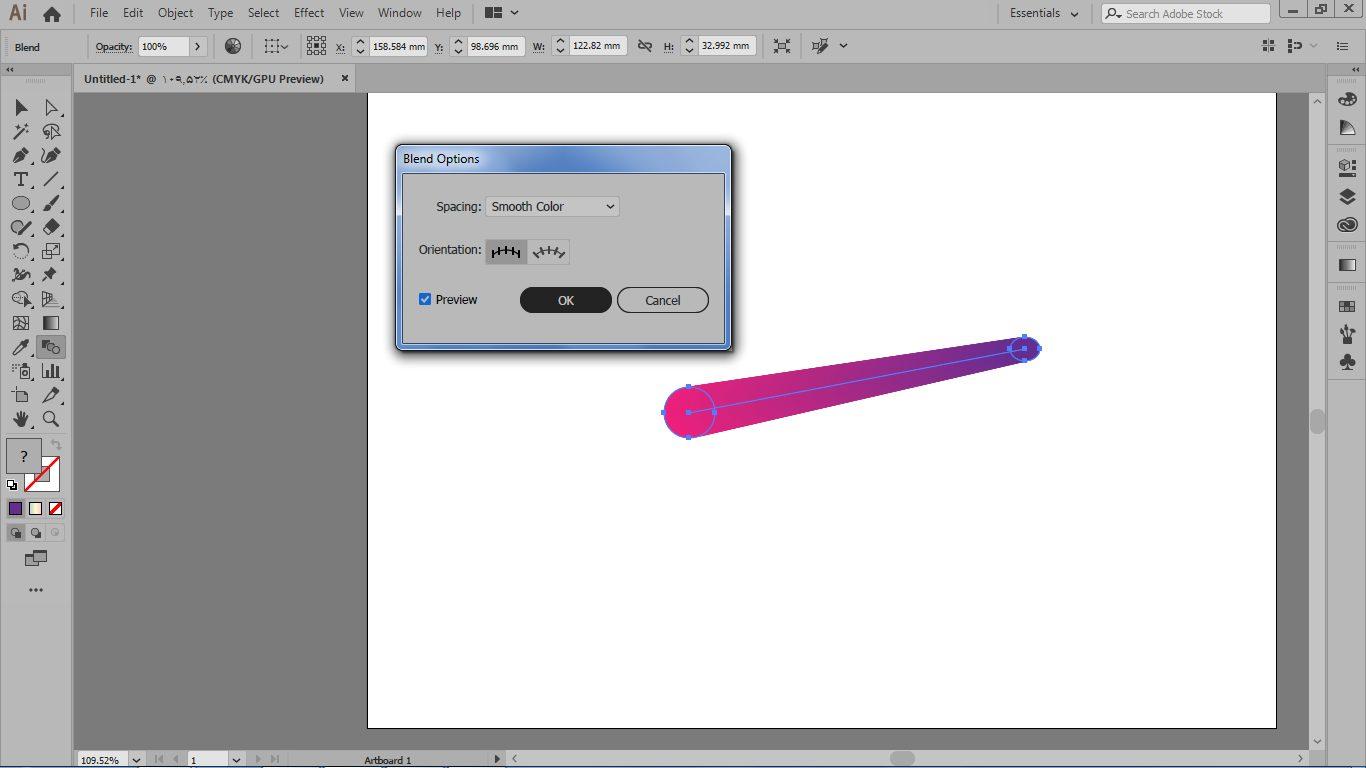 کادر تنظیمات blend option و گزینه ی spacing برای ایجاد طیف نرم رنگی در ایلوستریتور