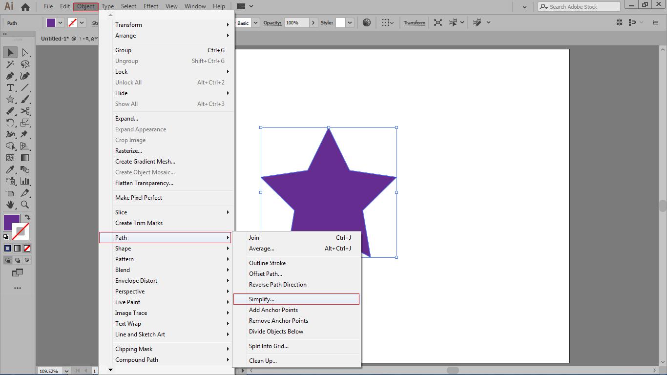 کم کردن پیچیدگی های شکل ها با فرمان simplify در ایلوستریتور