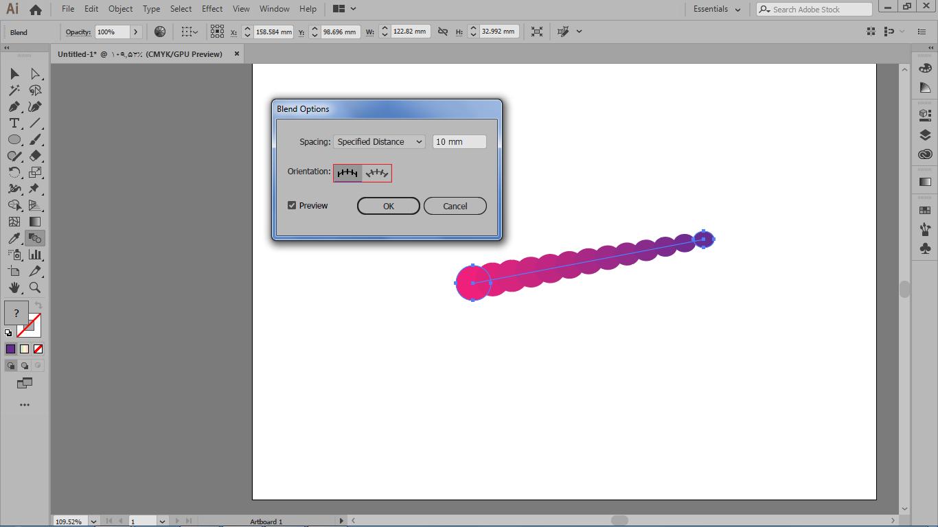 دو گزینه orientation برای تزاز بندی گام های مدل blend در ایلوستریتور