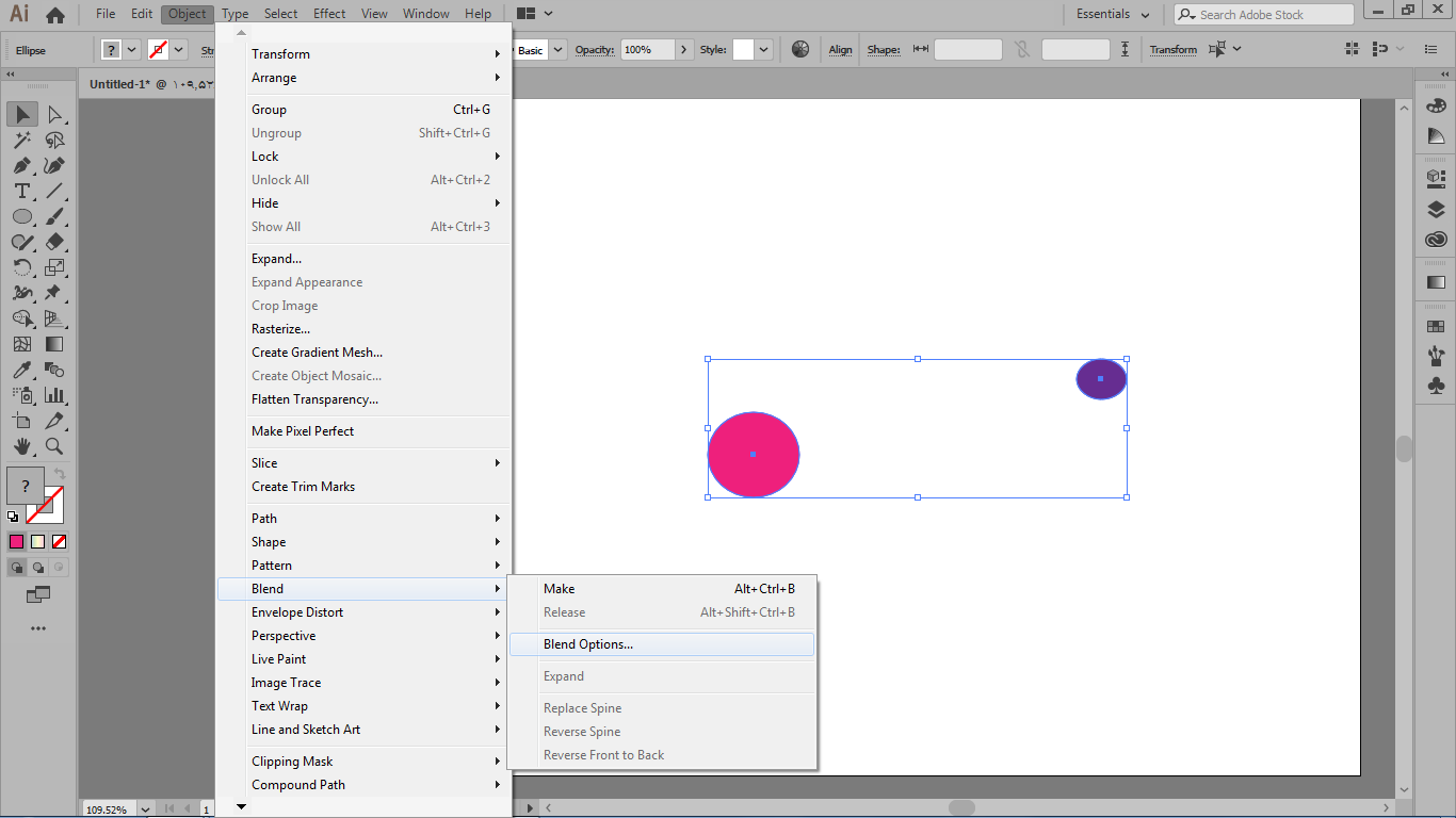 دسترسی تنظیمات blend از طریق منوی object و انتخاب blend option در ایلوستریتور