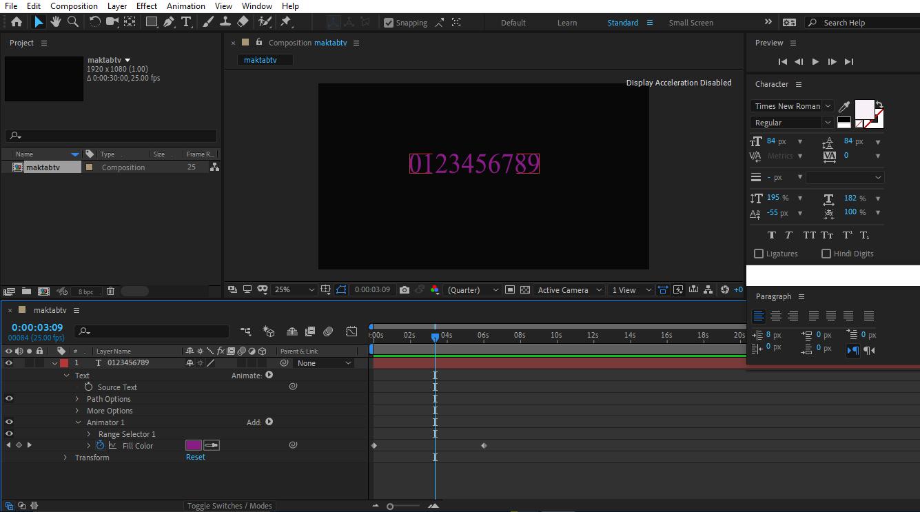 ایجاد کی فریم در حالت RGB و تغییر رنگ به بنفش در متن در افتر افکت