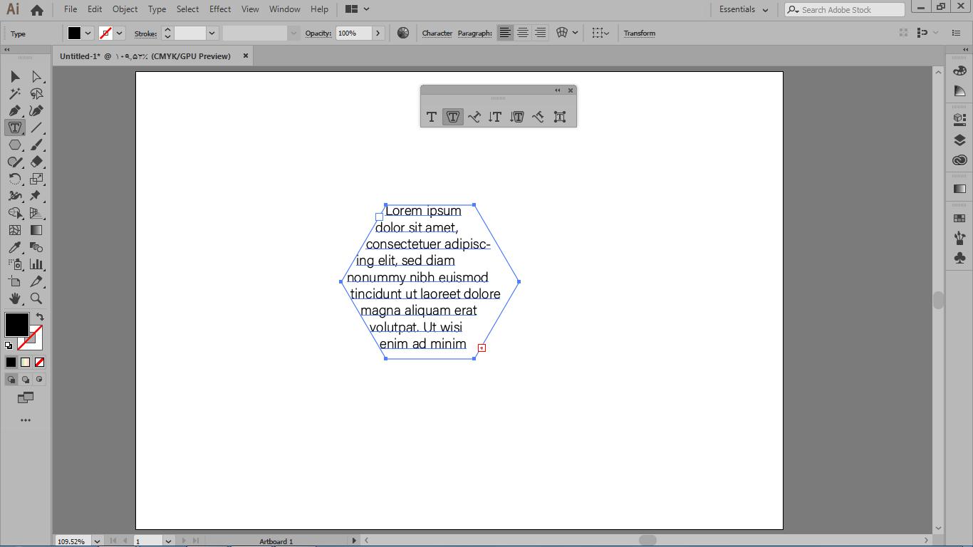 نوشتن متن در محدوره ی برداری ترسیم شده با گزینه area type tool در ایلوستریتور