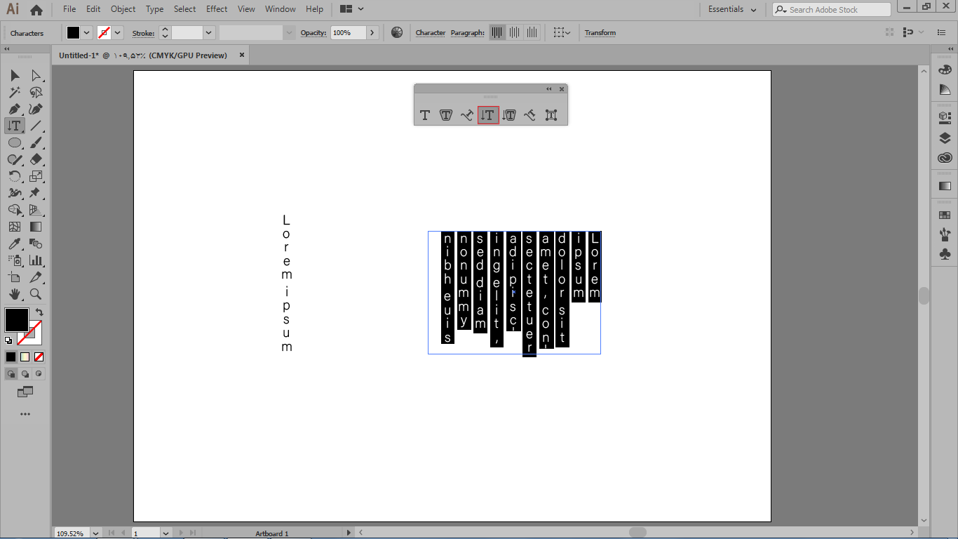 تایپ به صورت vertical type tool در ایلوستریتور
