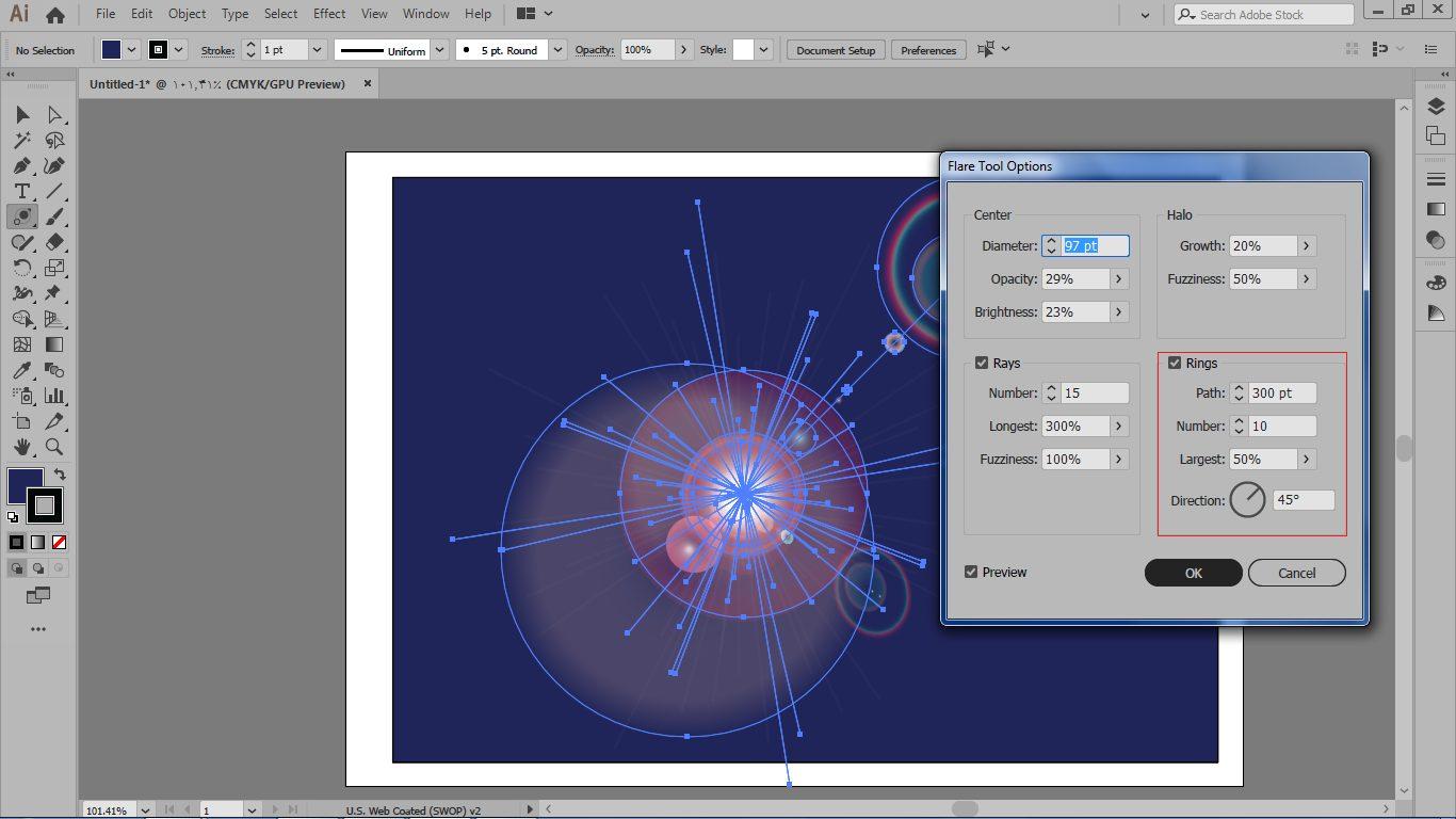 تنظیم جهت و فاصله بین مرکز هاله نور و تعداد حلقه ها در ایلوستریتور