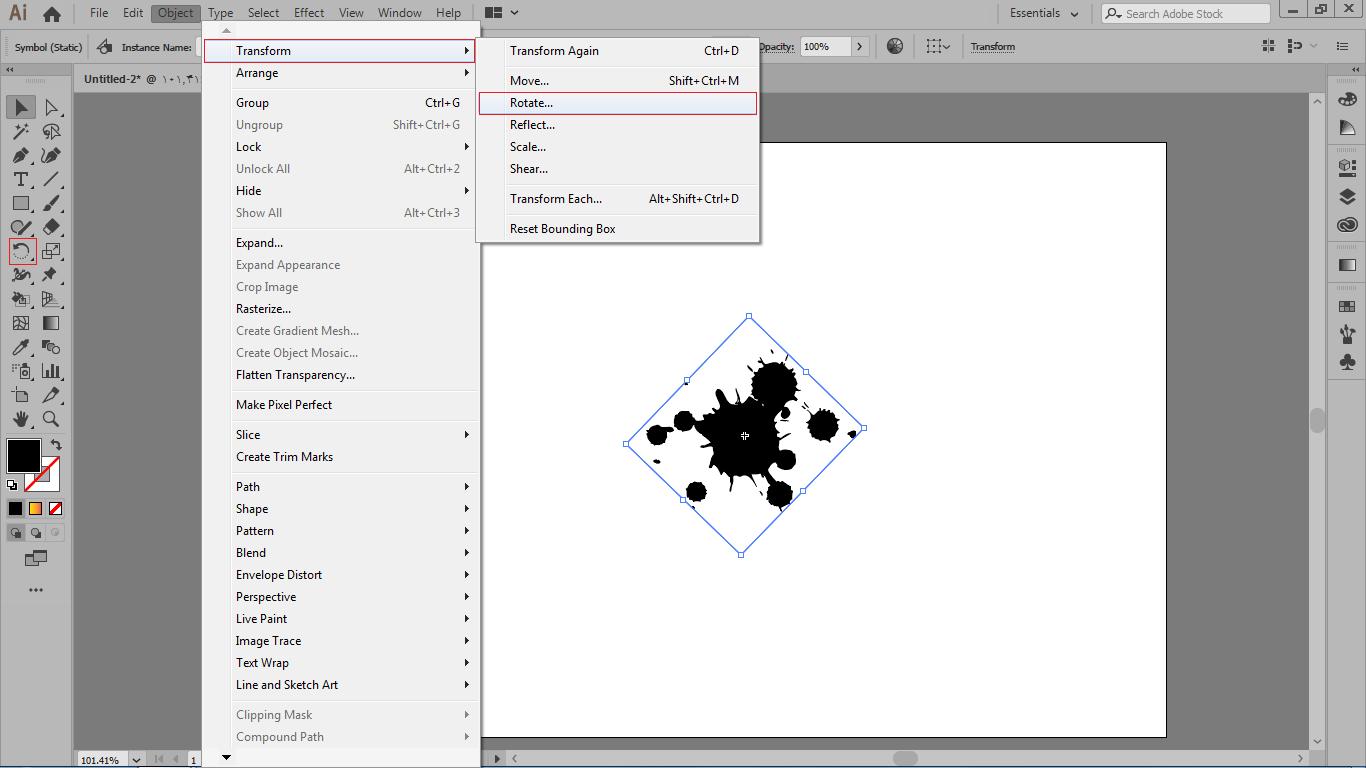 گزینه rotate در منوی object در زیر مجموعه ی transform