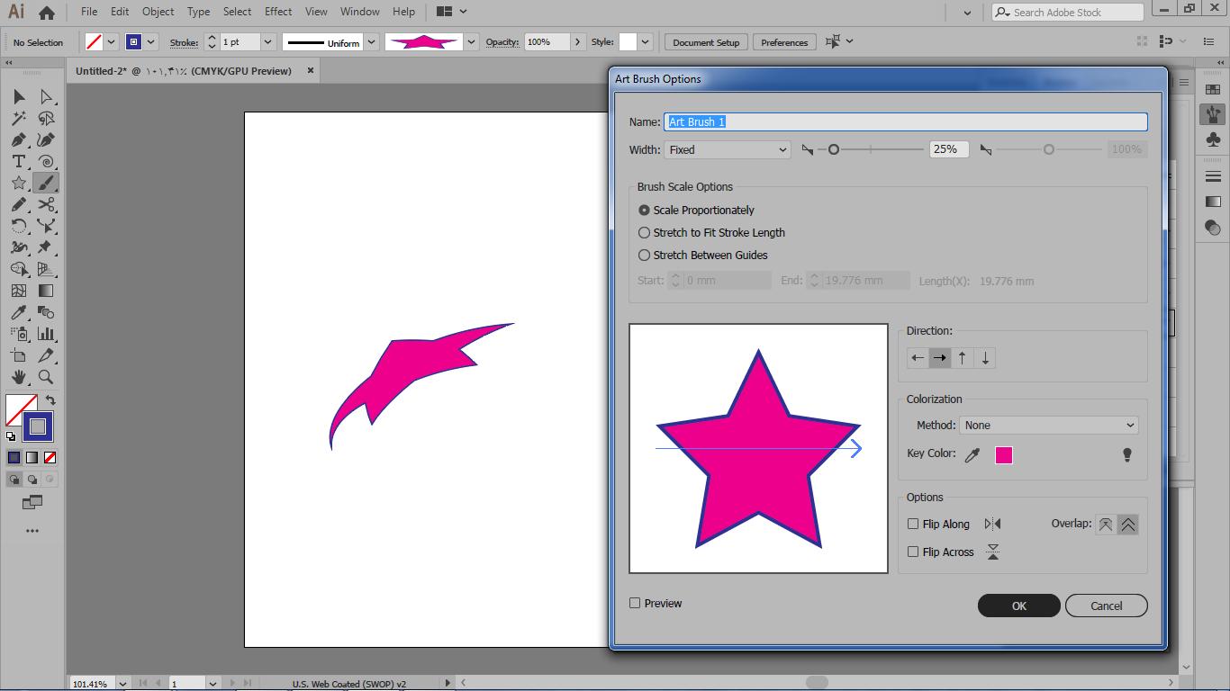 بخش مربوط به brush scale options و گزینه های کاربردی آن روی شکل هنری د رایلوستریتور