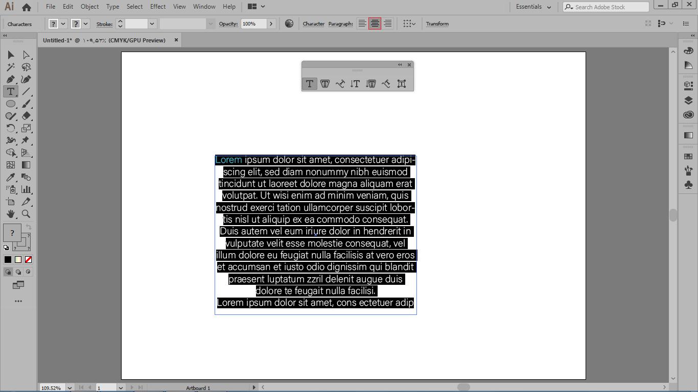 ویرایش متن در نوار کنترل بالا و انتخاب کل متن با کلید ترکیبی ctrl +a در ایلوستریتور