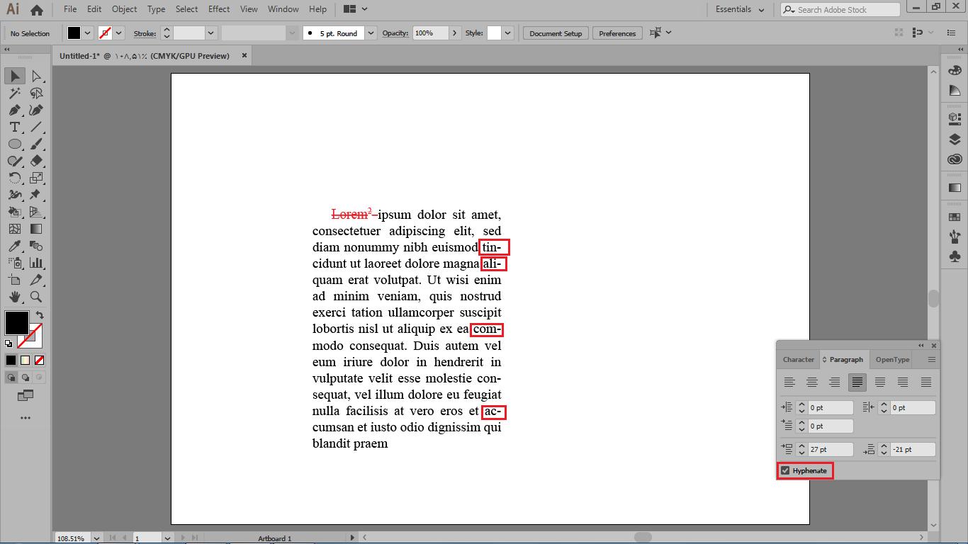 رعایت فاصله مجازی با فعال کردن گزینه hyphenate در ایلوستریتور
