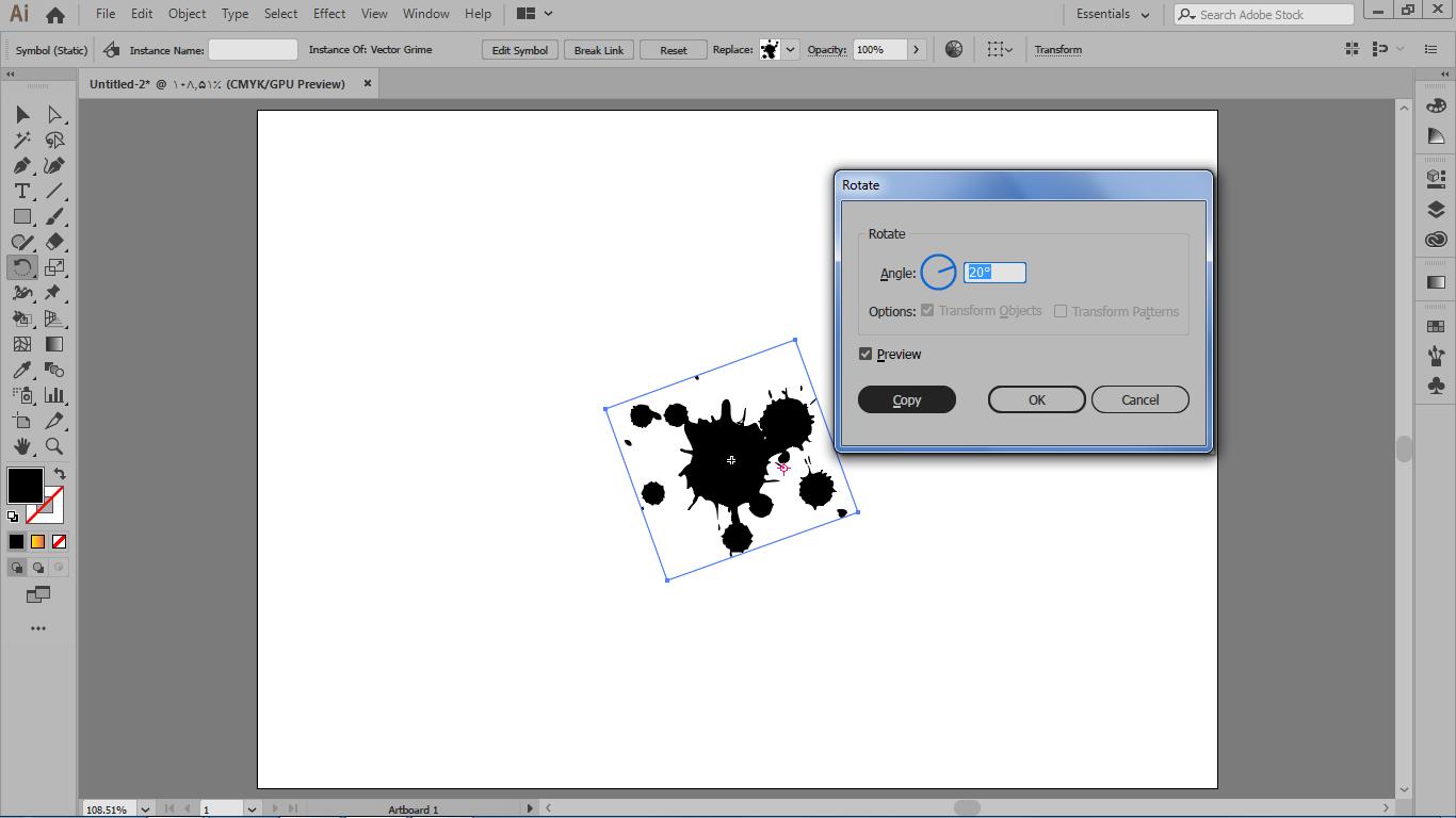 باز شدن بخش تنظیمات rotate بعد از drag نقطه مرجع و نگه داشتن alt با همراه کیک چپ موس در ایلوستریتور