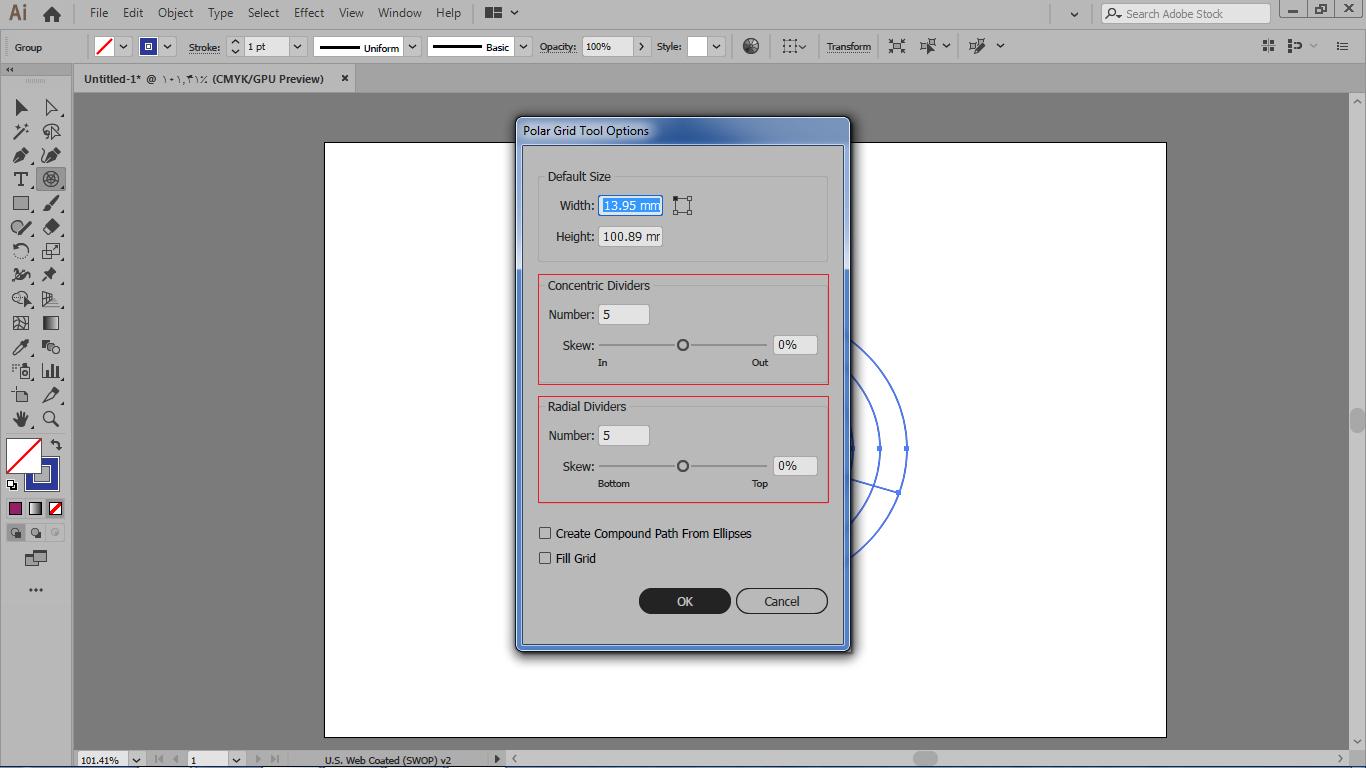 ترسیم شکل به دایره به صورت دقیق از تنظیمات صفحه در ایلوستریتور