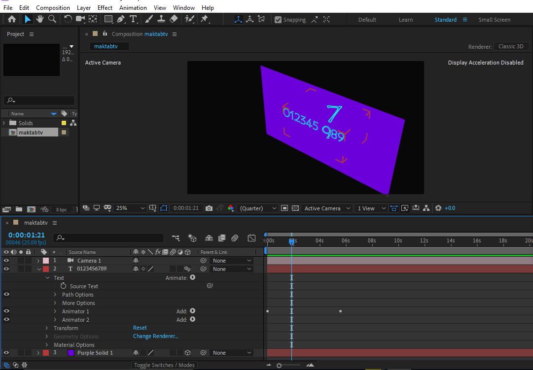 ایجاد زاویه مختلف دوربین و قرار دادن RGB برای متن در افتر اکت