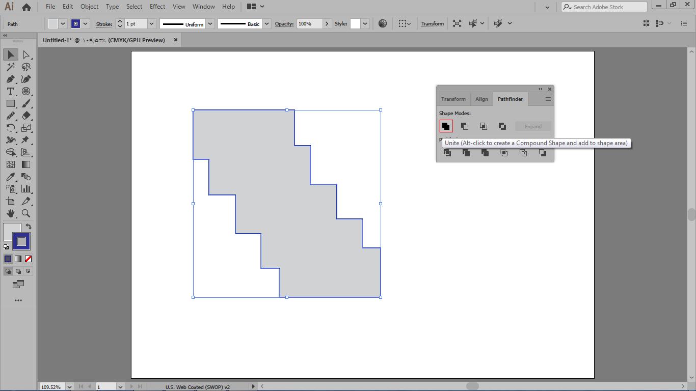 برای ادغام کردن شکل ها باید ابتدا انتخاب شکل ها و بعد انتخاب گزینه unite در ایلوستریتور