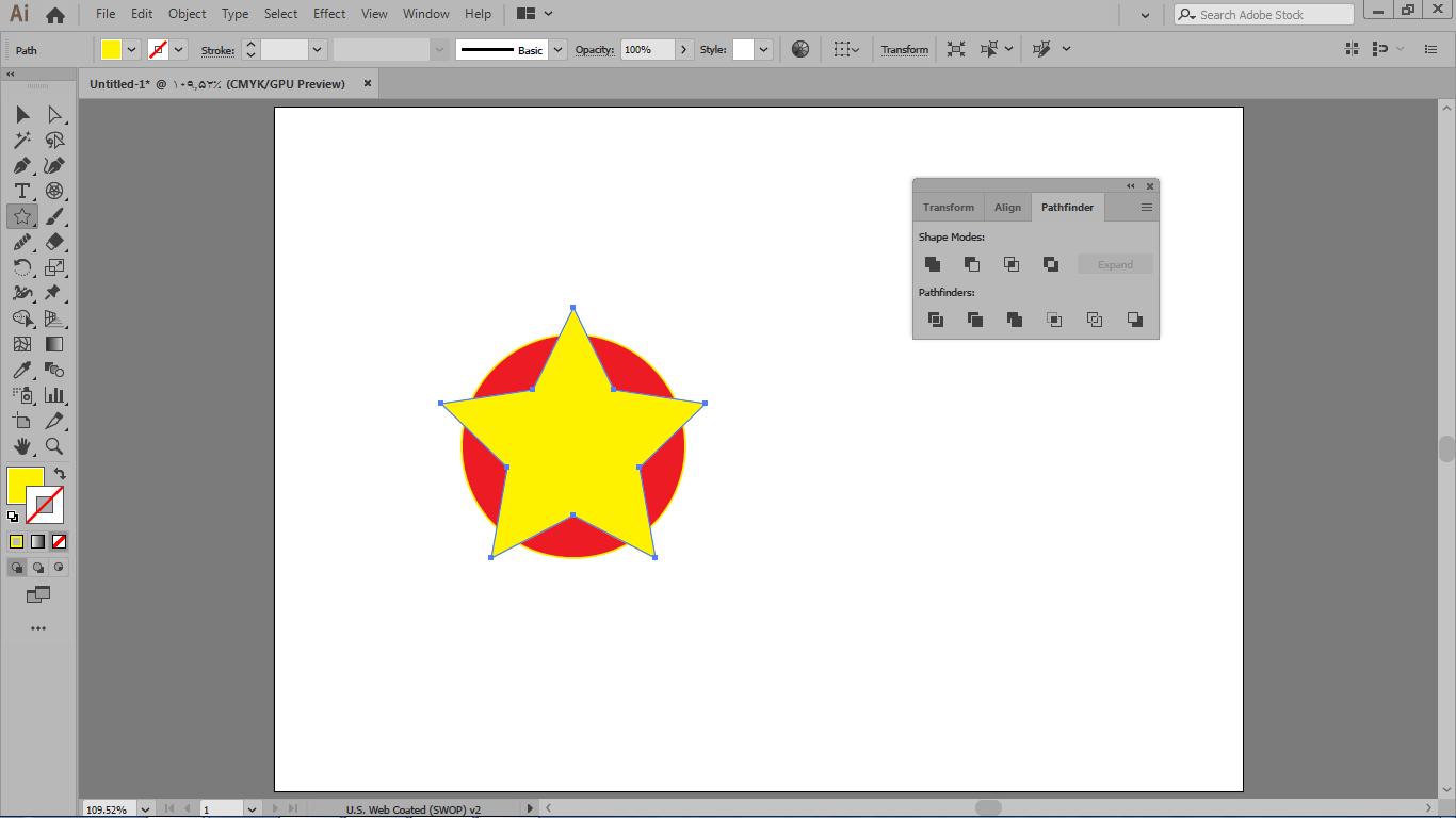 کم کردن شکل های بالا از شکل های پایین با گزینه minus front در ایلوستریتور