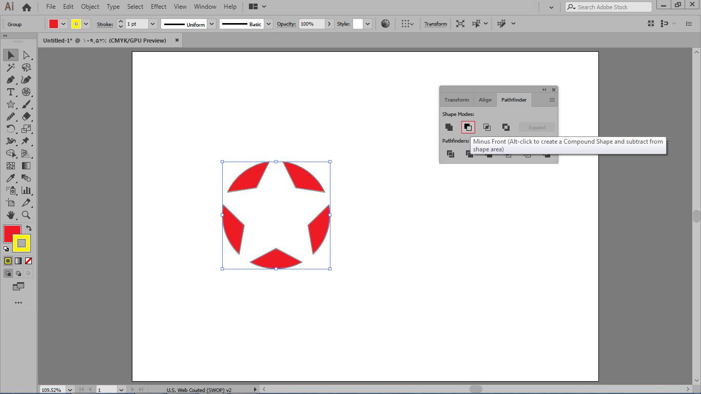 با انتخاب دستور minus front با انتخاب شکل ها باعث کم شدن شکل بالایی از پایینی در ایلوستریتور