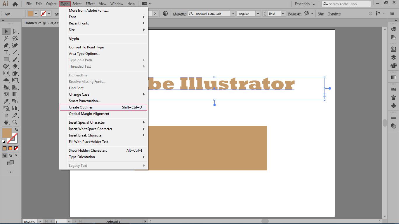 تبدیل متن به مسیر در منوی type فرمان create outlines در ایلوستریتور