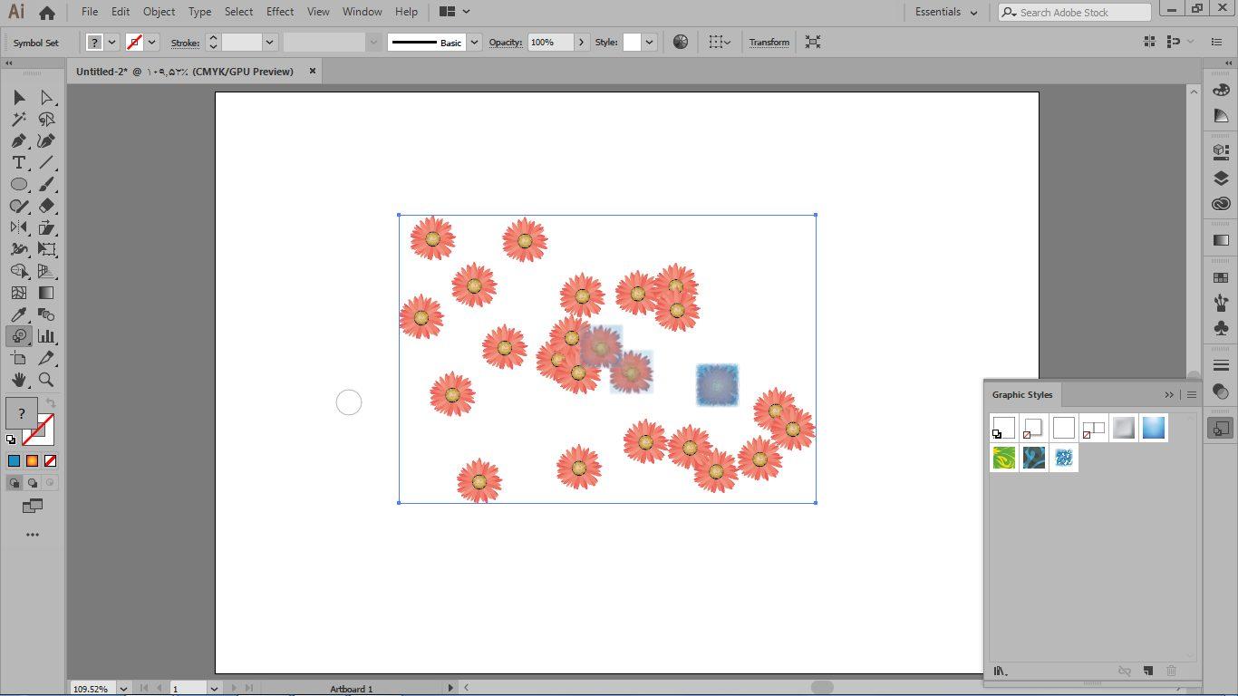 تغییر رنگ سمبل ها به رنگ گرافیک در پانل graphic style با ابزار symbol styler در ایلوستریتور