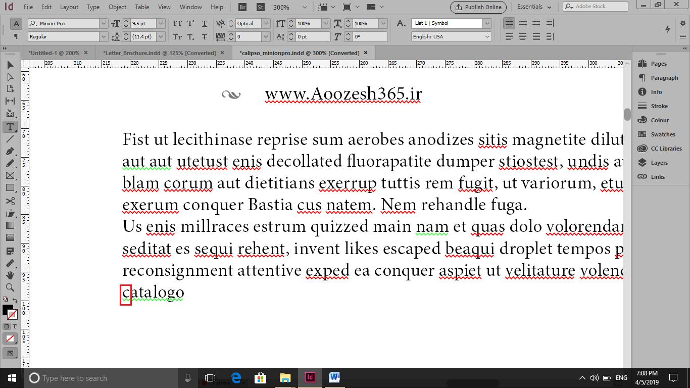 رفع خط سبز در کلمه Catalogo با برزگ کردن حرف اول این کلمه در ایندیزاین
