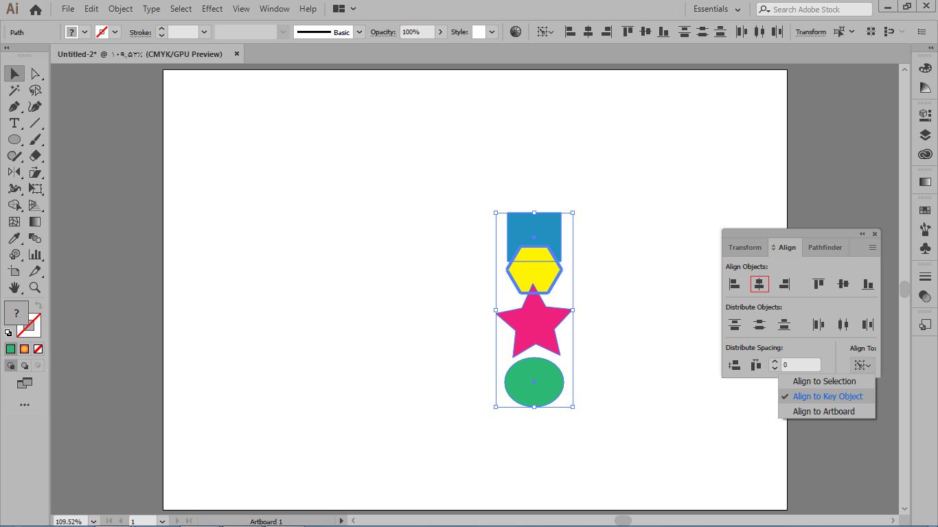 بخش align to key object هم ترازی موضوع انتخاب شده با موضوع کلیدی در ایلوستریتور