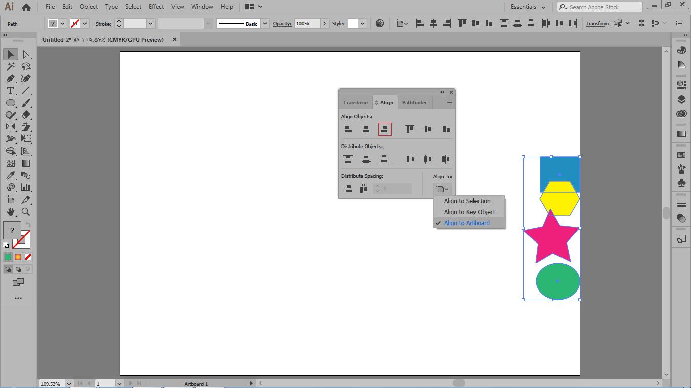 align to artboard مرتب کردن موضوعات انتخابی با لبه های آرت برد در ایلوستریتور