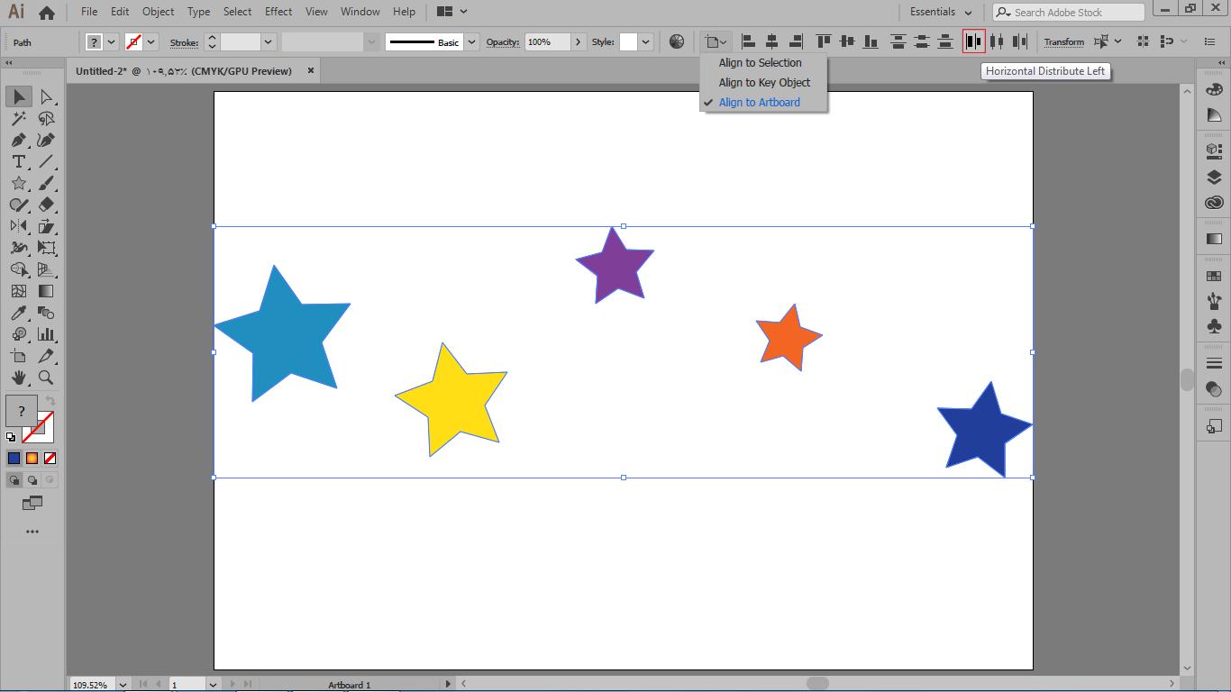 انتخاب horizontal distribute left و انتخاب align to artboard در چگونگی هم ترازی اشیاء در ایلوستریتور