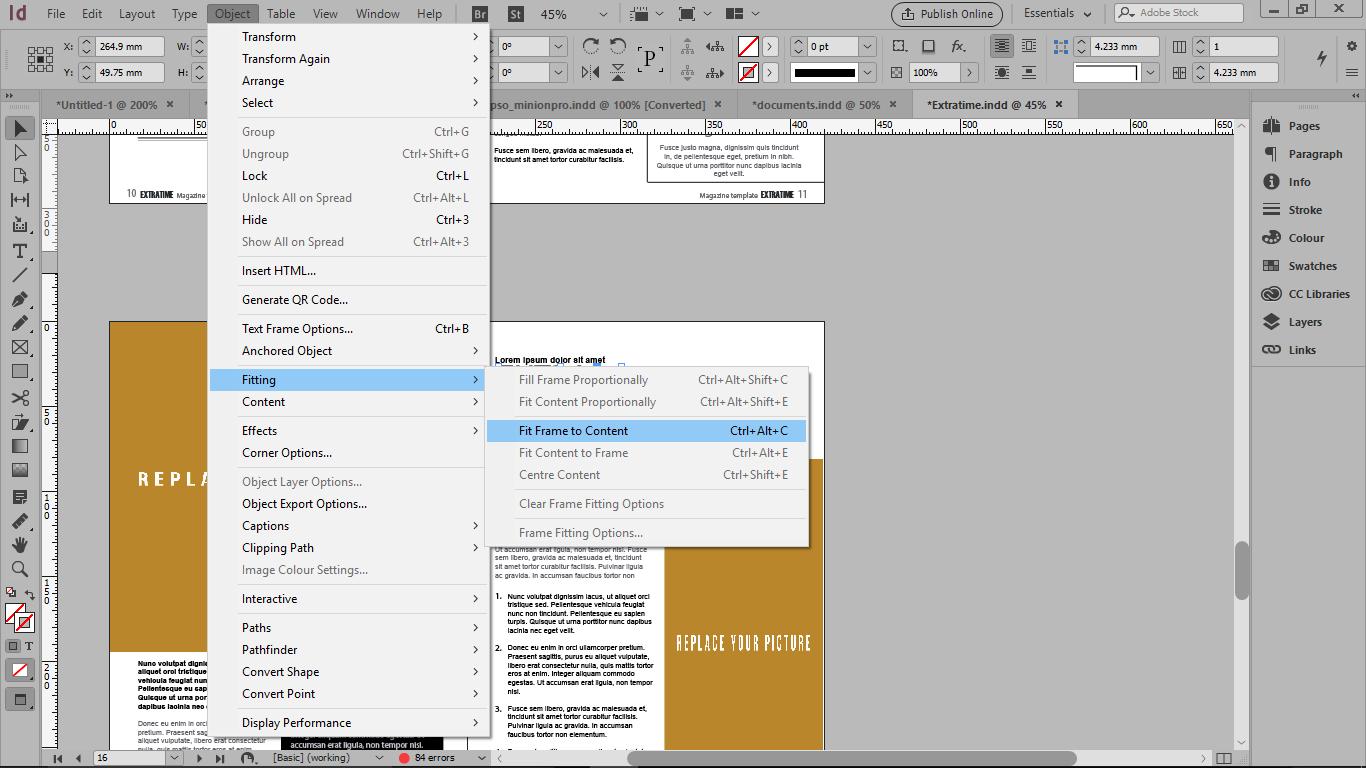 گزینه Fit Frame to Content از منوی object برای هم اندازه شدن متن با فریم متنی در ایندیزاین