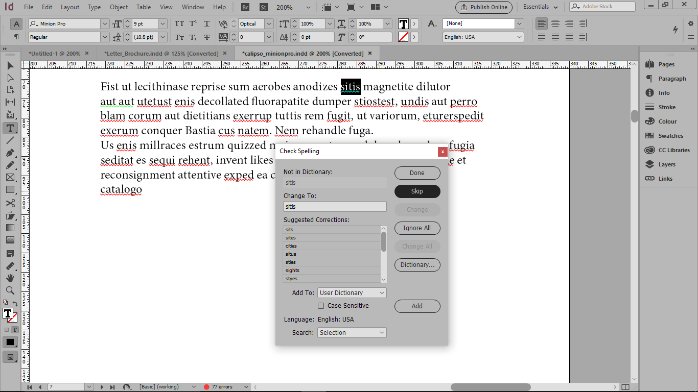 کادر محاوره ای Check Spelling و شناخت غلط املایی صحیح با زدن skip در ایندیزاین
