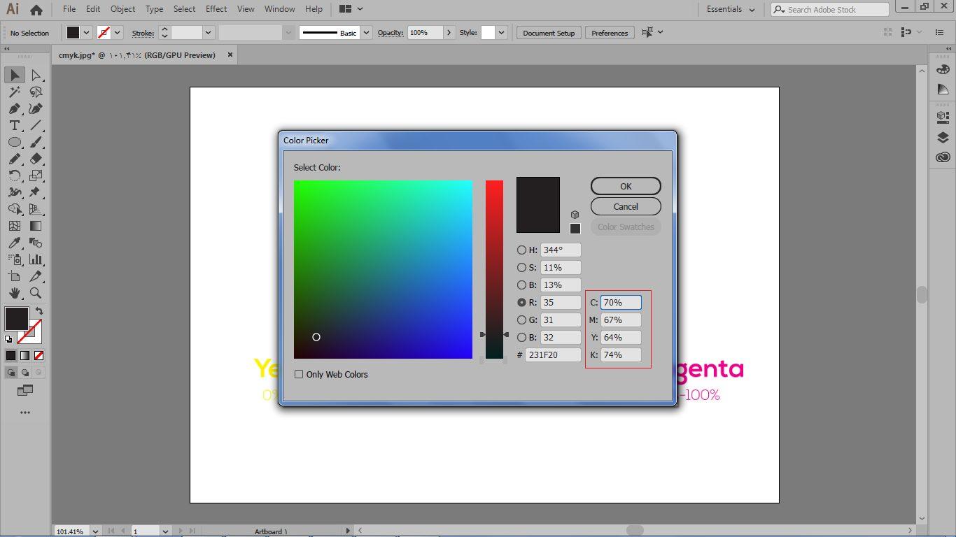 کادر color picker برای سیستم رنگی cmyk در ایلوستریتور