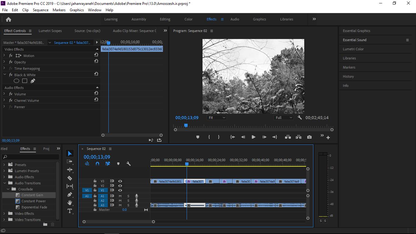 قسمت افکت ها Video Transitions و قرار دادن آن ها در ویدیو و افزایش و کاهش طول Transitions در پریمیر
