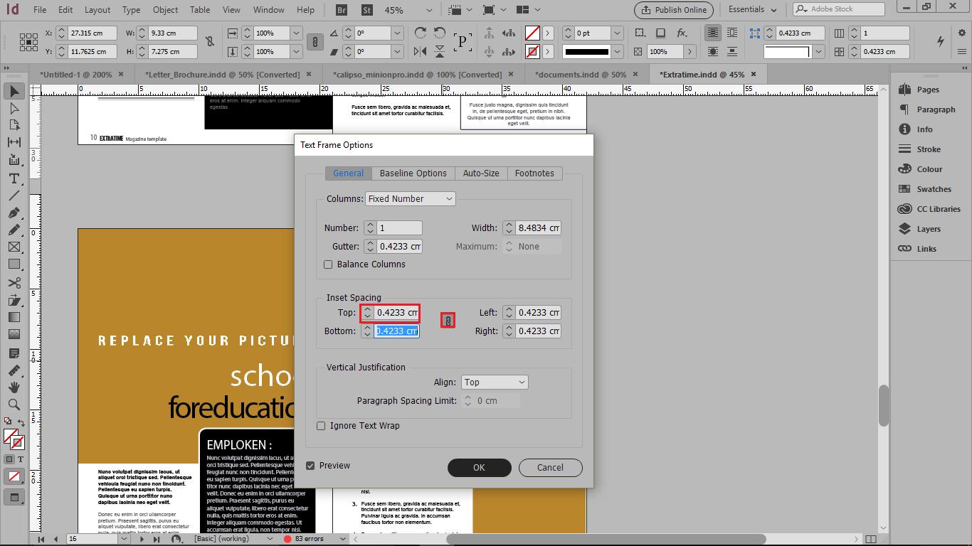 ایجاد فضا در متن در قسمت Inset Spacing در فیلد Top در تنظیمات متن در ایندیزاین