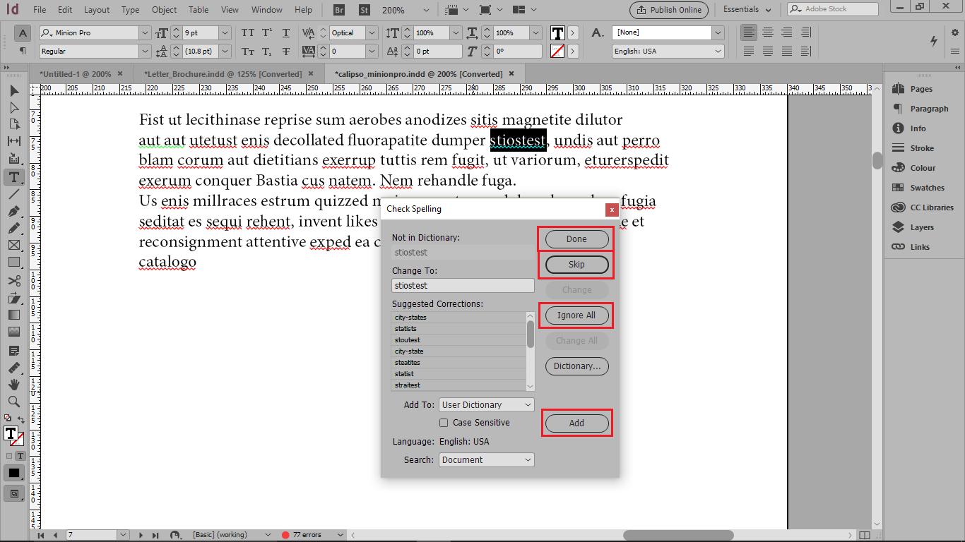 گزینه Ignore All برای اصلاح غلط کامه یا جمله در کل سند و اضافه کردن لغت به فرهنگ لغت با گزینه add در ایندیزاین