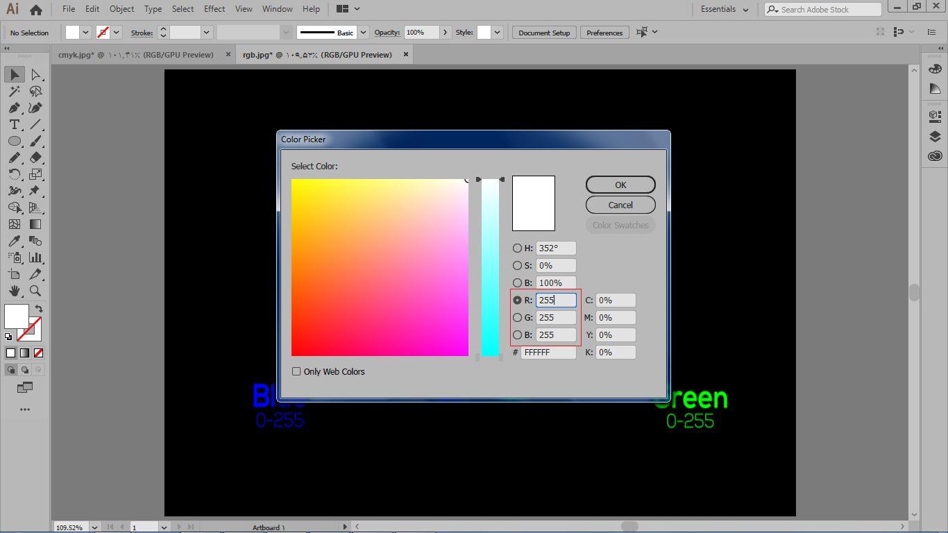 مدل رنگ RGB در کادر COLOR PICKER در ایلوستریتور