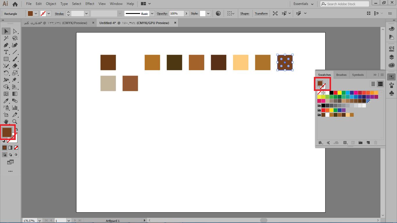 انتقال رنگ ها با استفاده از ابزار selection و درگ کردن روی گروه ایجاد شده در ایلوستریتور