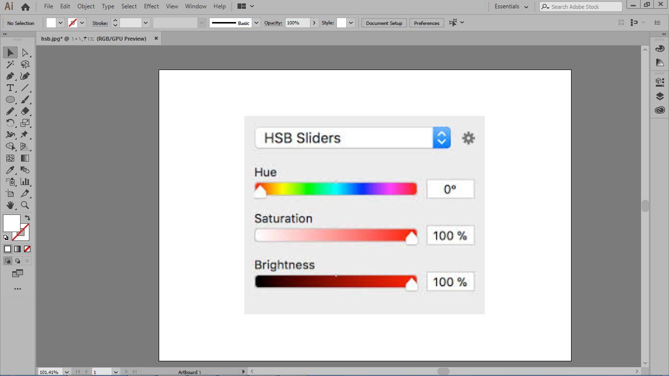 سیستم رنگی HSB به معنای رنگ مایع، درجه اشباع و روشنایی در ایلوستریتور