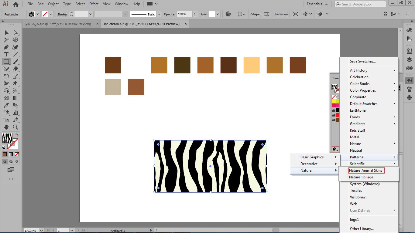 انتخاب انواع رنگ های مختلف و الگو برای شکل در ایلوستریتور