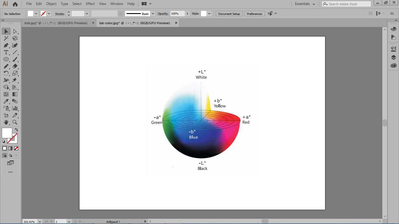 مود رنگی مود رنگ LAB color در موارد از جمله : ویرایش روشنایی و مقادیر رنگ مستقل از هم صورت گیرد در ایلوستریتور