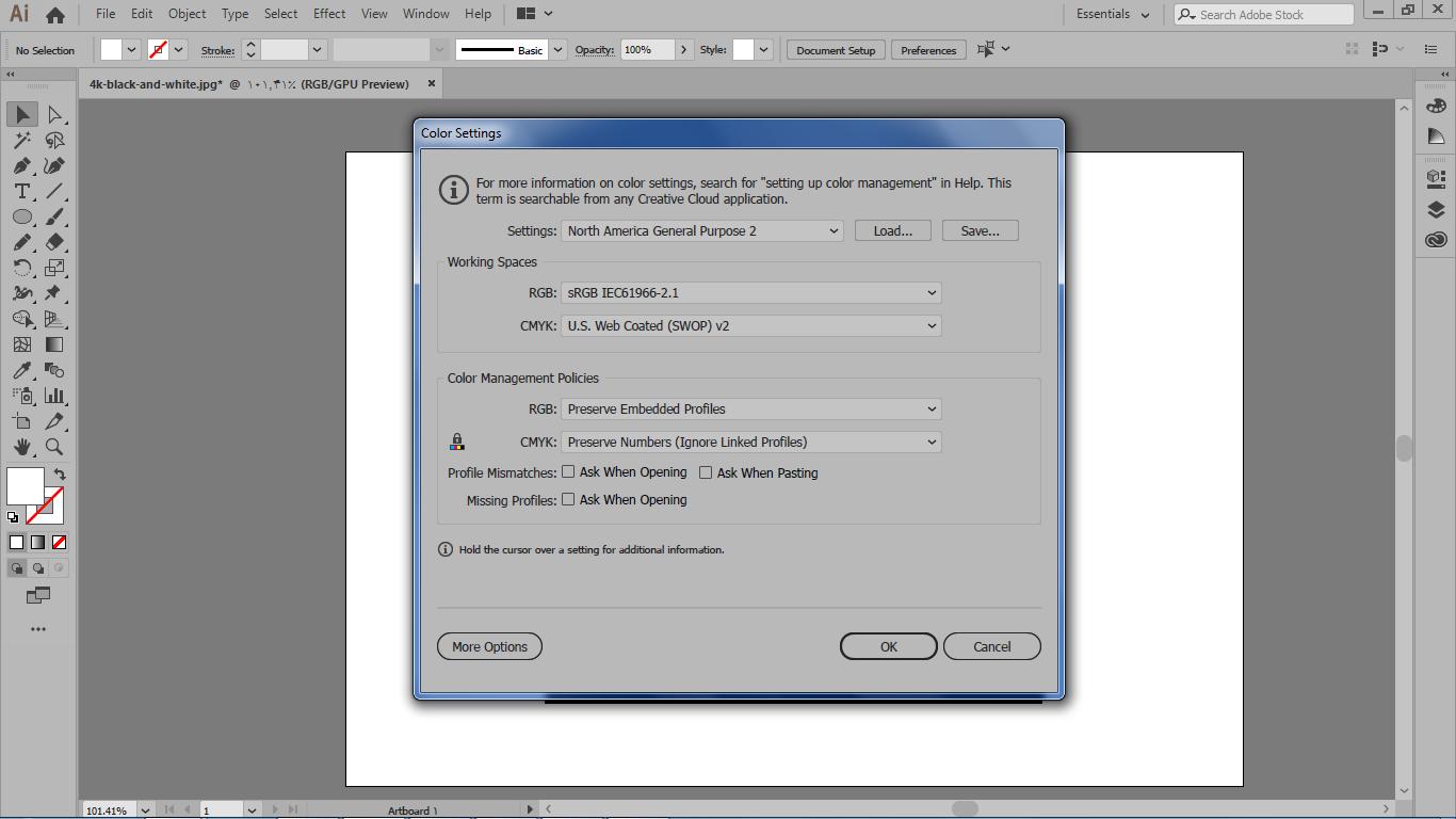 تنظیمات رنگ ها در منوی edit و انتخاب گزینه color settings در ایلوستریتور