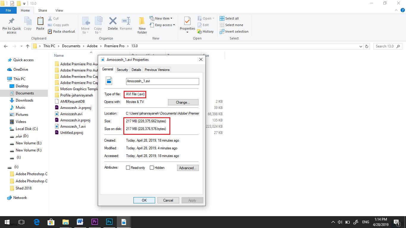 مشخصات فایل با کلیک راست کردن روی فایل و انتخاب گزینه Properties در پریمیر