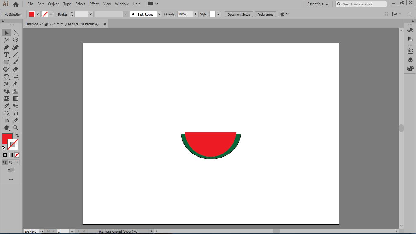 ترسیم شکل درون هندوانه با کپی از شکل پوسته هندوانه و رنگ کردن آن در ایلوستریتور