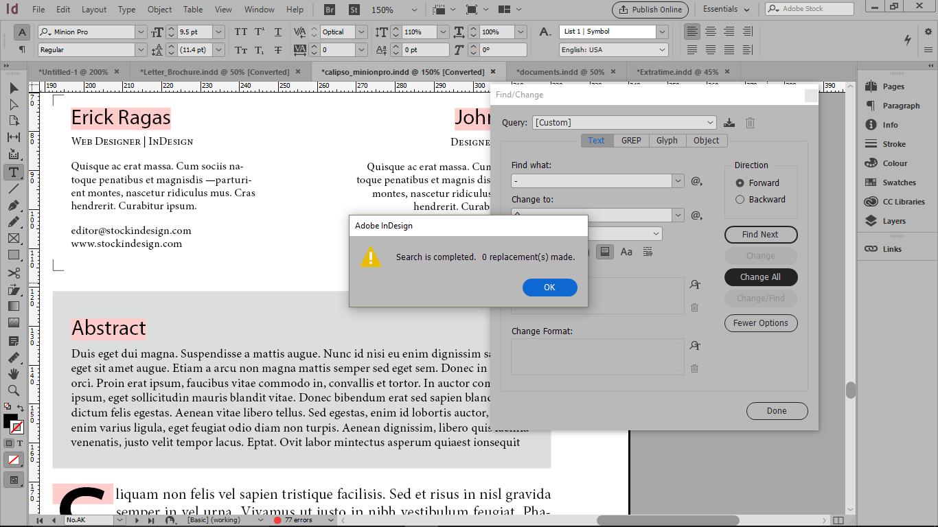 دکمه Change All زدن و نمایش کادر هشدار بخاتر فعال بودن آیکون Whole Word در ایندیزاین