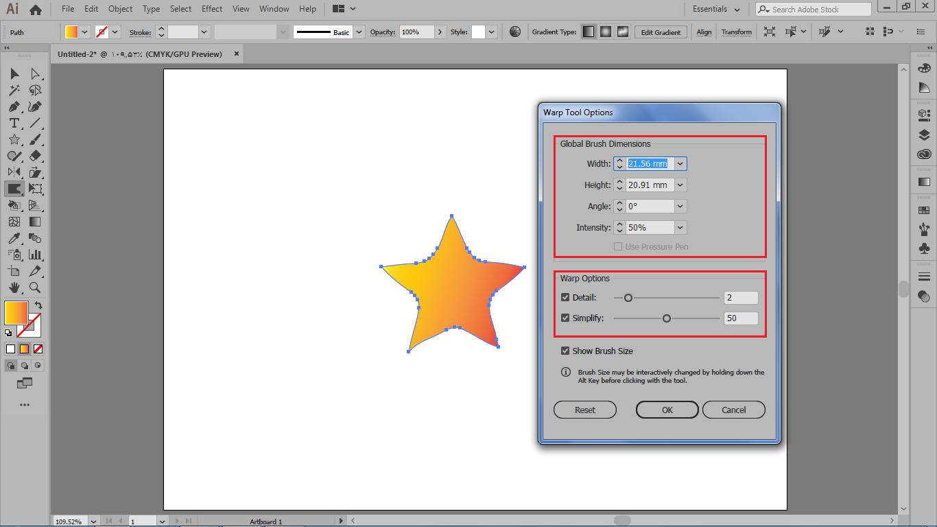 وارد تنظیمات ابزار warp در تغییر شکل ترکیبی در نرم افزار ایلوستریتور