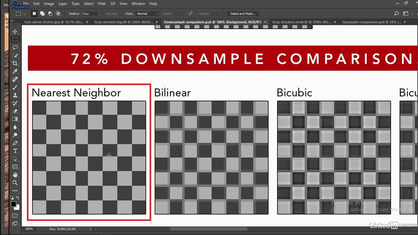 nearest neighborدر زمان حذف پیکسل درای مربع های کوتاه و بلند است