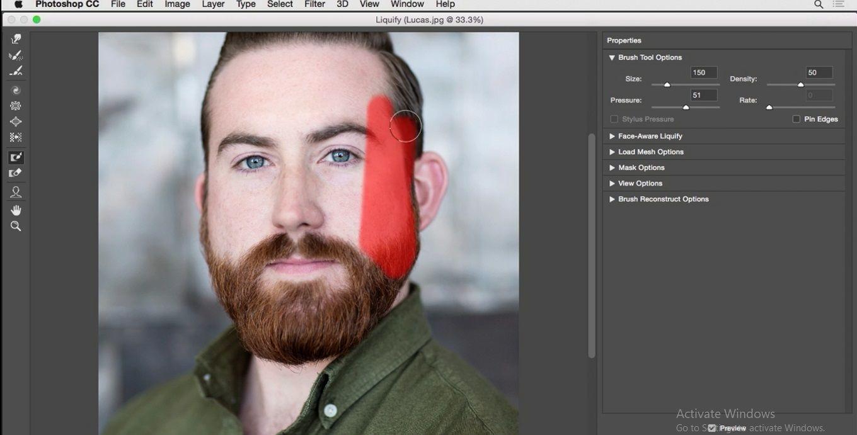 نقاشی کردن روی قسمت صورت در فتوشاپ در آموزش روتوش پرتره
