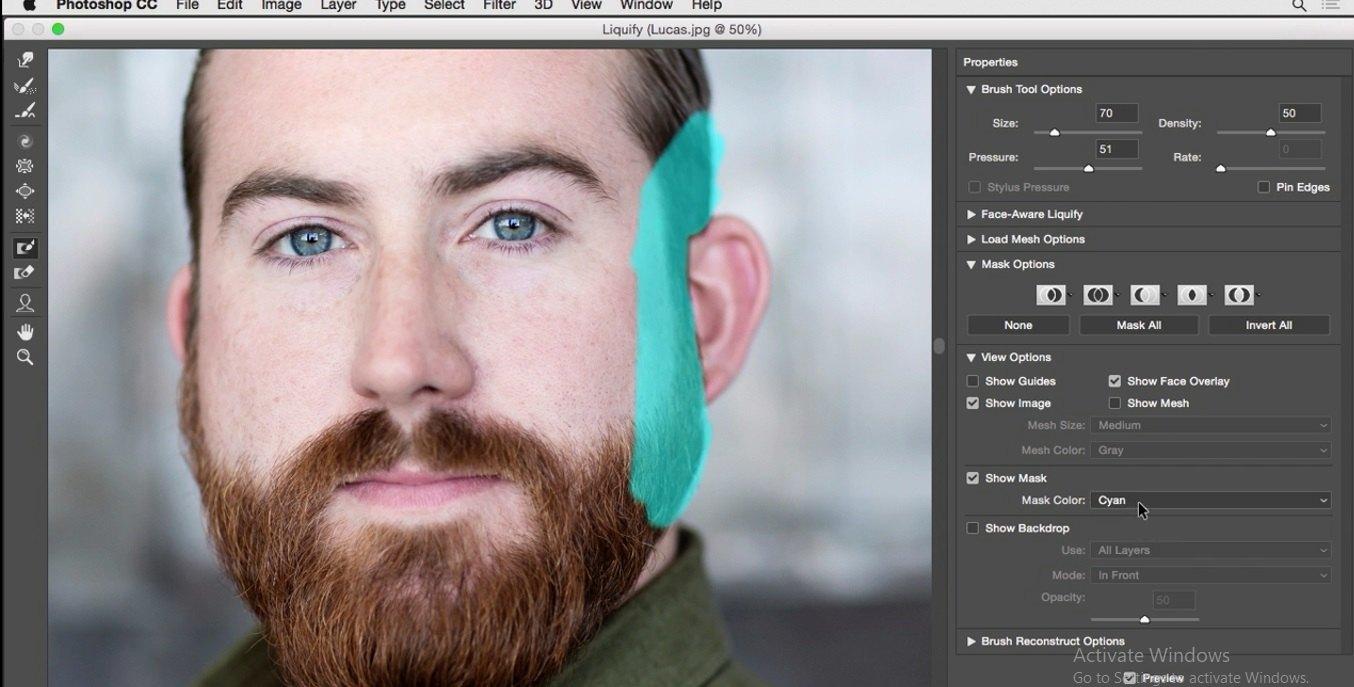 انتخاب رنگ دیگر برای ماسک در فتوشاپ در آموزش روتوش پرتره